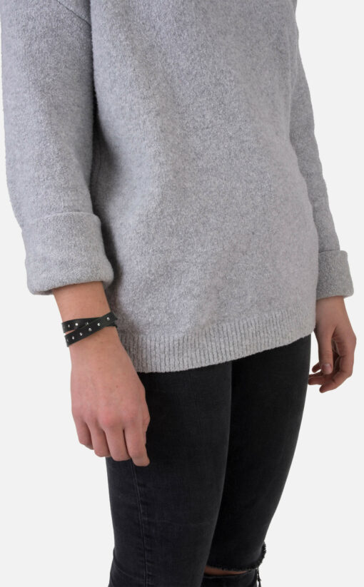 Wickel-Armband, Leder mit Strass, schwarz