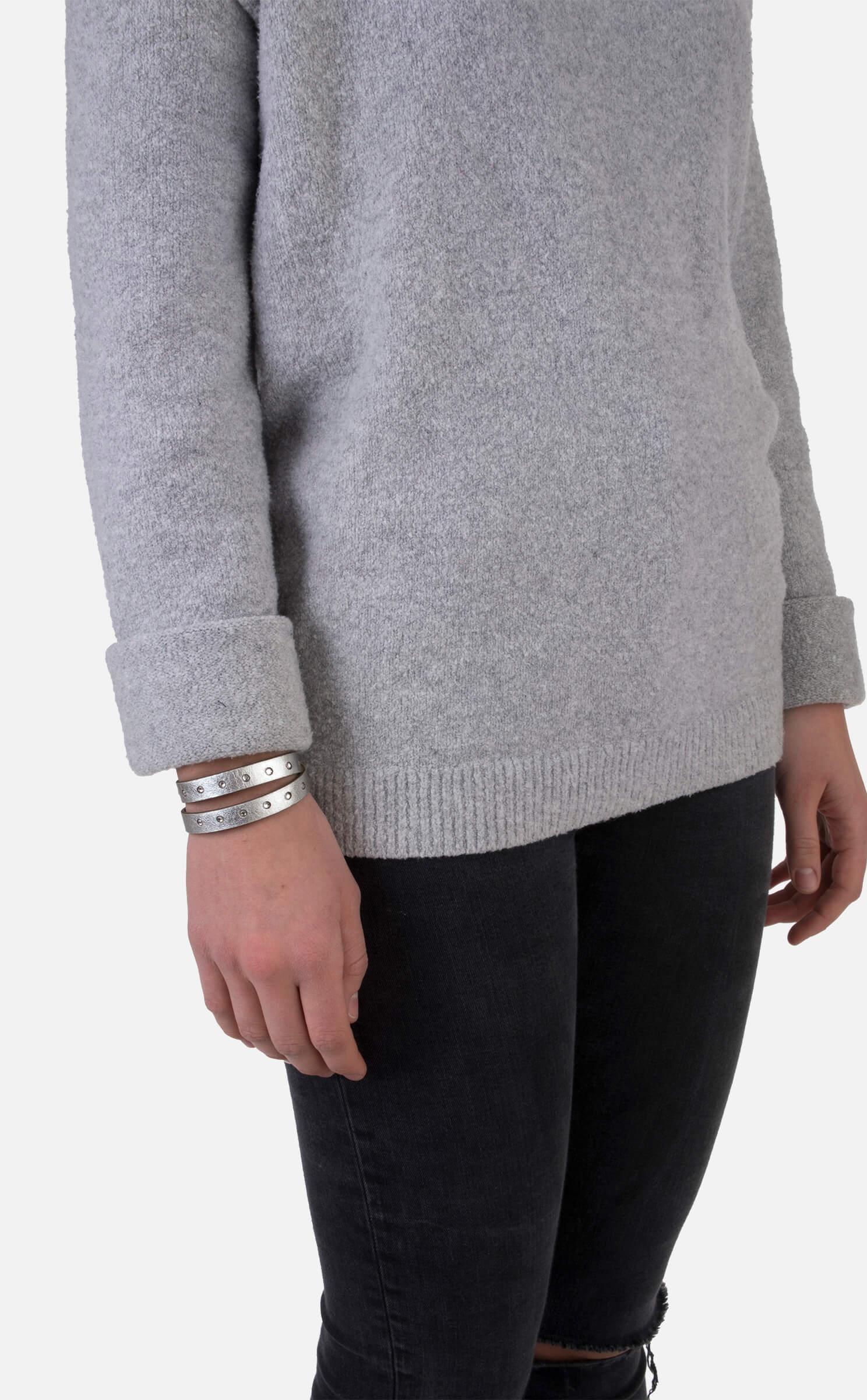 Leder-Wickel-Armband, silber mit Strass