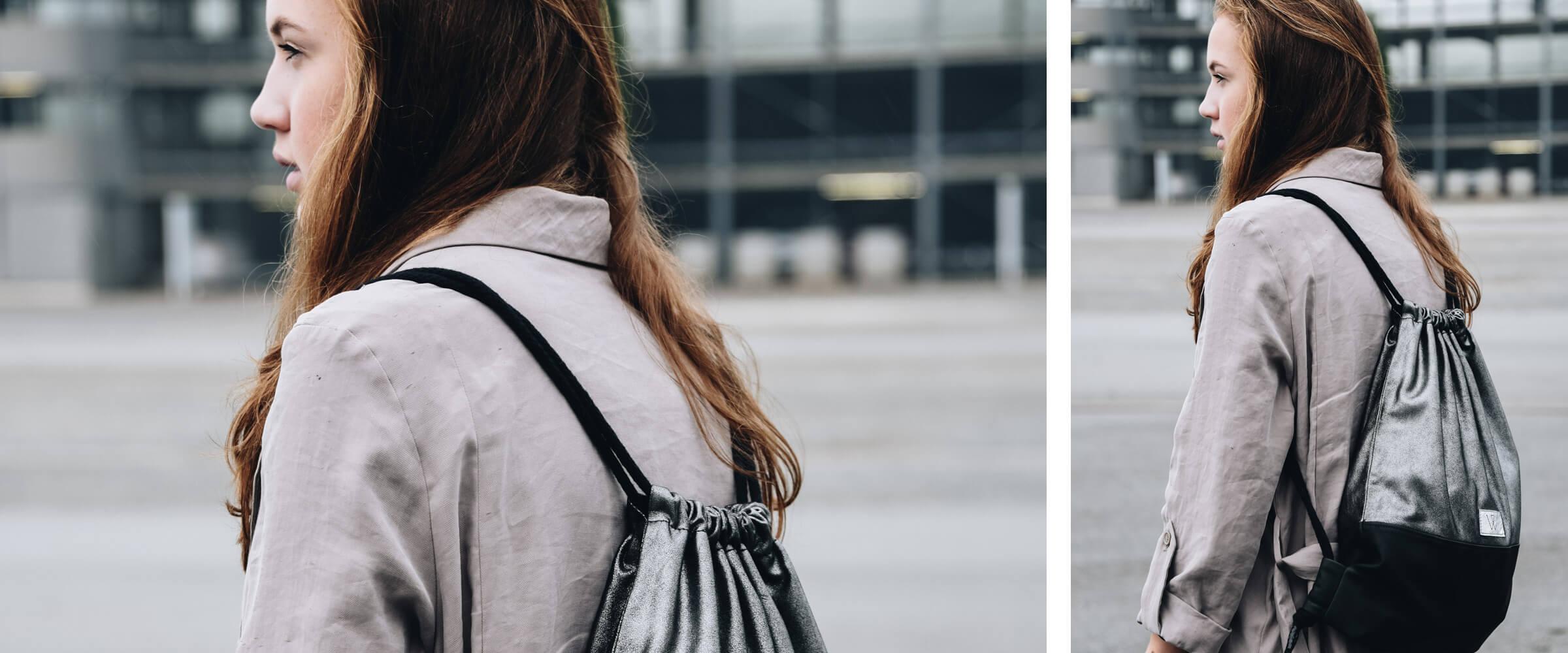 Turnbeutel metallic | Leder | Wunschleder