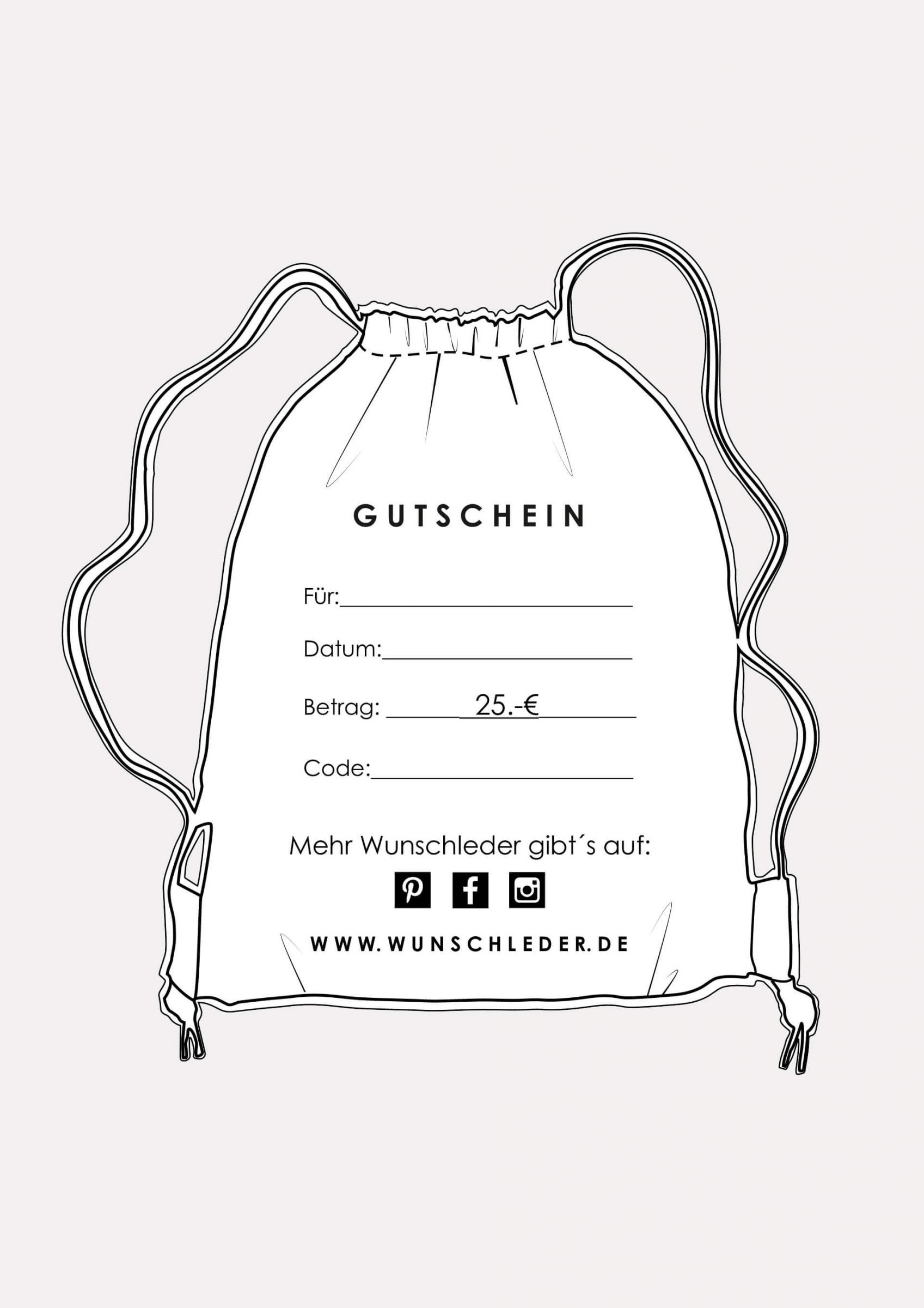 Geschenkgutschein für ein Wunschlederprodukt • 25 Euro