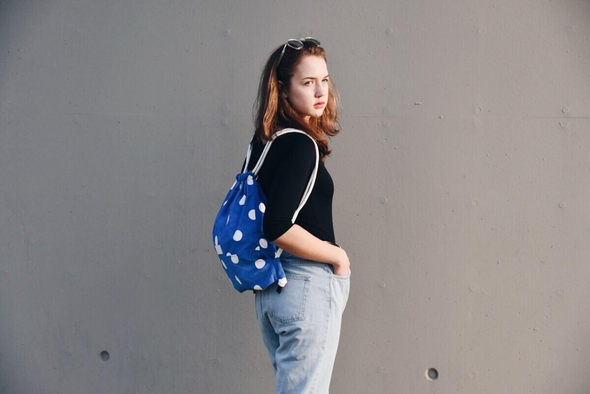 Punkte Turnbeutel Outfit Blau Wunschleder