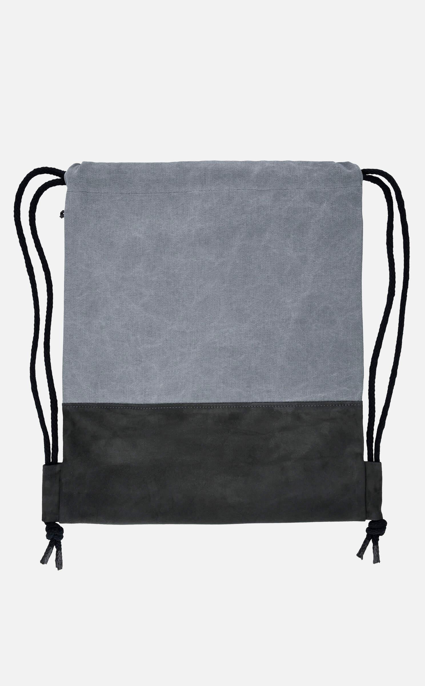 Stoff Leder Turnbeutel in Canvas Grau