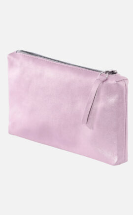 Leder Etui im Metallic Look, metallic rosa