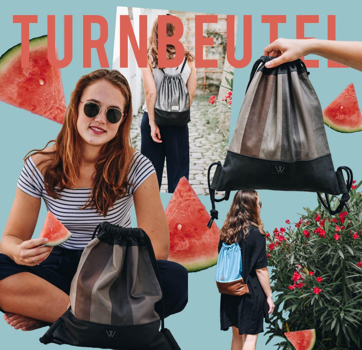 Hipster Turnbeutel | Bunt | Wunschleder | Tasche | Made in Germany | Leder