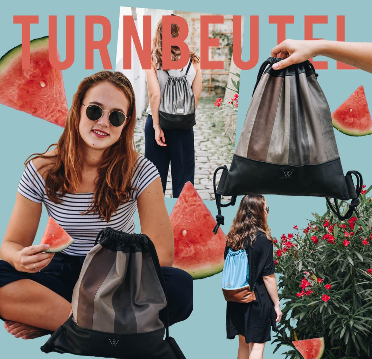 Hipster Turnbeutel   Bunt   Wunschleder   Tasche   Made in Germany   Leder