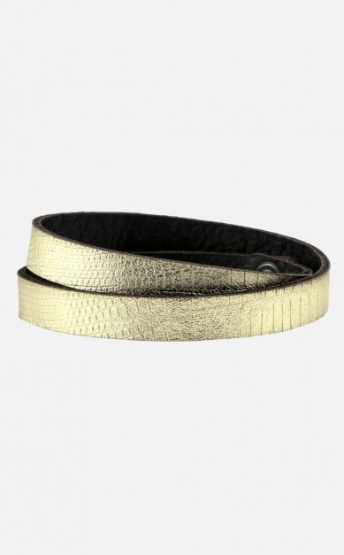 Leder-Armband zum Wickeln, gold, Reptil-Look