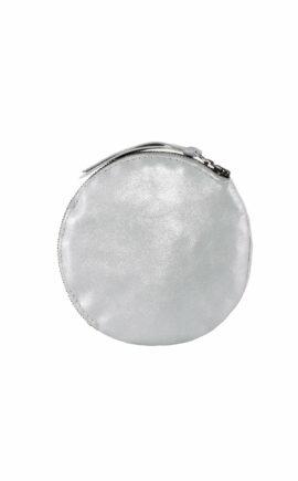 Rundes Leder Etui im Metallic-Look, silber