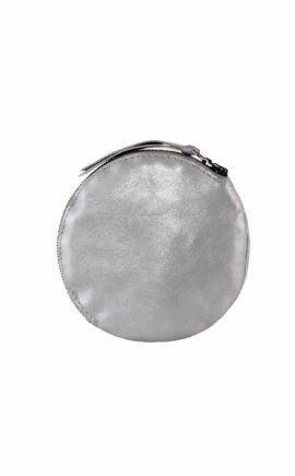 rundes Leder Etui in Farbe metallic titan