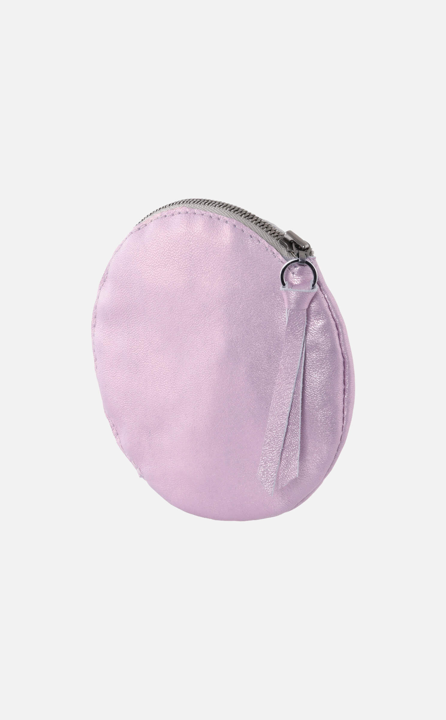 Bezauberndes rundes Lederetui, metallic rosa