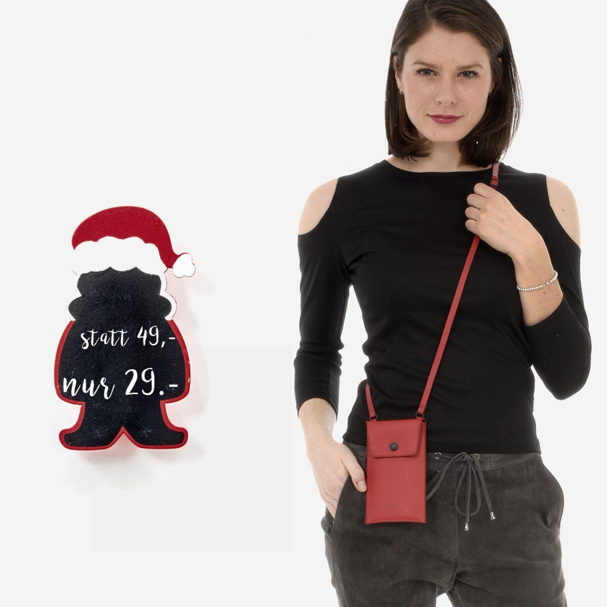 Wunschleder | rote Handytasche aus Leder zum Umhängen
