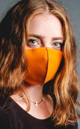 Mundbedeckung | orange | 3-lagig | waschbar | wiederverwendbar | Wunschleder