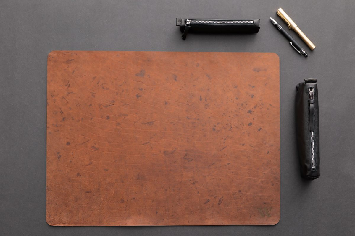 Schreibtischunterlage Leder| Schreibtischauflage Bio-Leder| Wunschleder